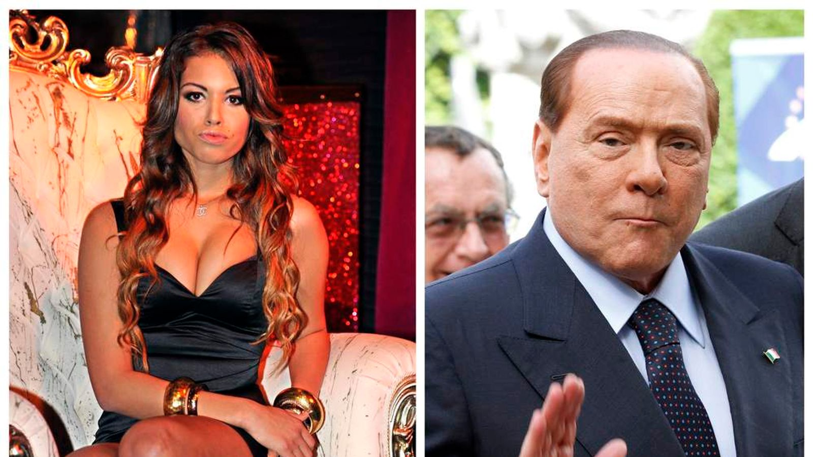 Karima El Mahroug of Morocco posing in Milan (l), and Italy's former Prime Minister Silvio Berlusconi waving in Brussels (r)