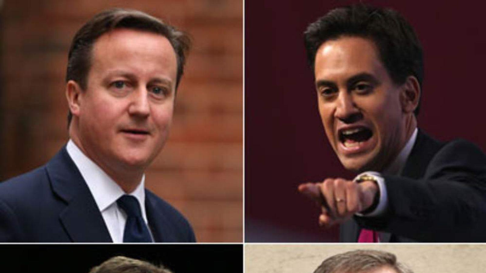 David Cameron, Ed Miliband, Nick Clegg and Nigel Farage