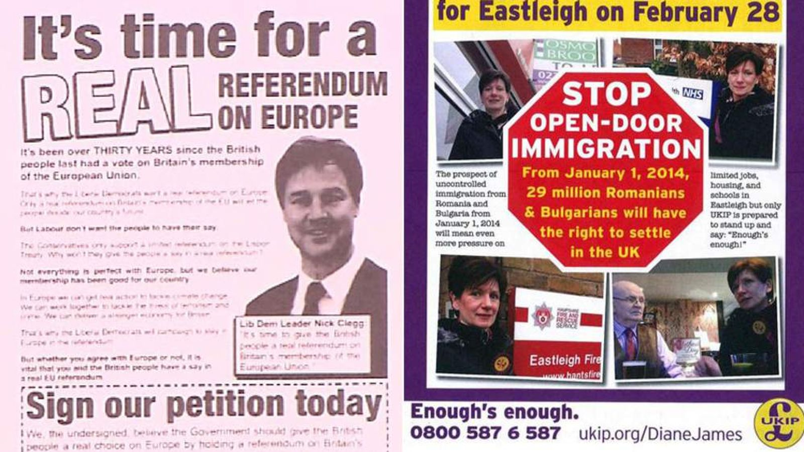 Leaflets from both the Lib Dems and UKIP were referenced during the debate.