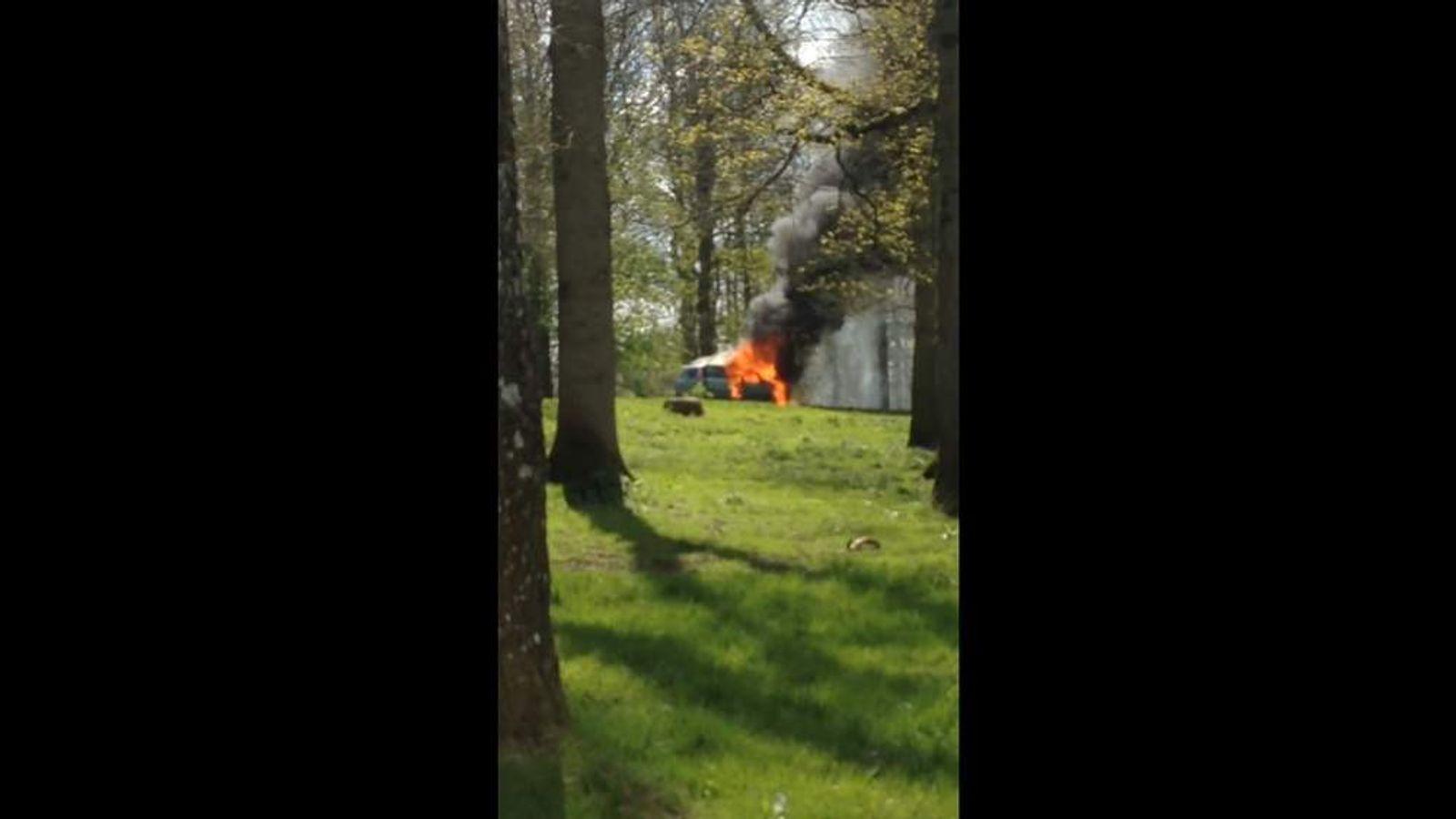Car fire in lion enclosure