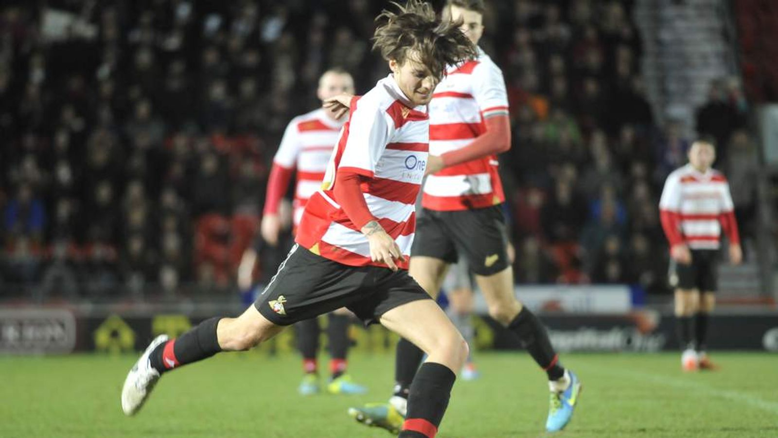 Louis Tomlinson in action for Doncaster Rovers reserves.