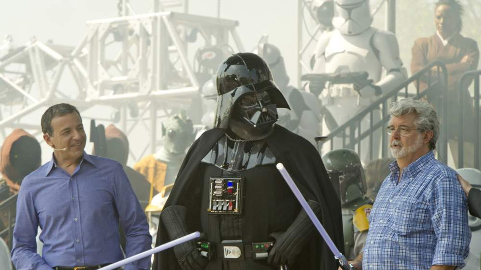George Lucas with Darth Vader (L)