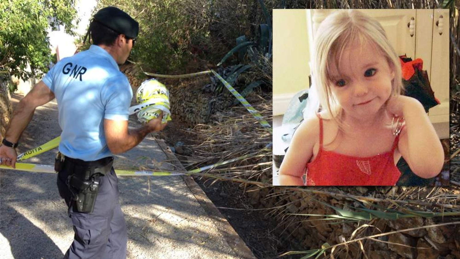 Police search an area of Praia da Luz for missing Madeleine McCann