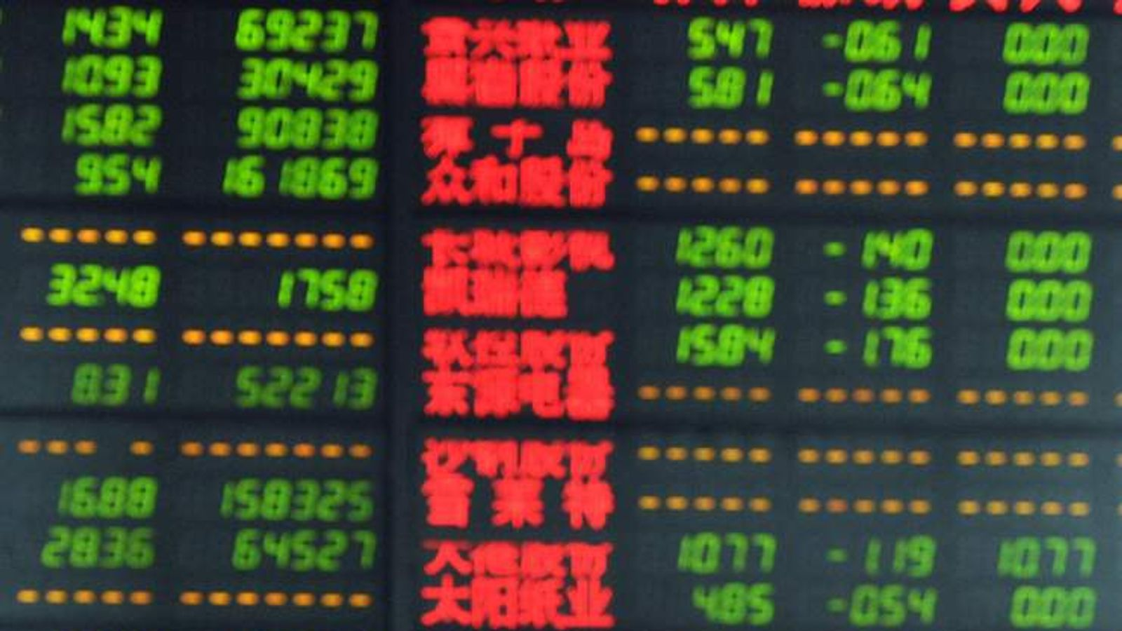 A man stands on front of a screen showing Chinese stock market moves