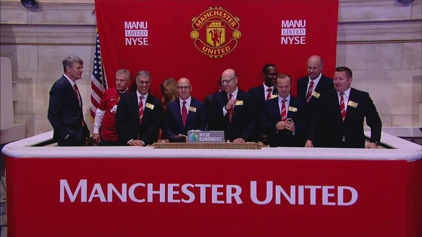 Manchester United execs launch flotation at Opening Bell in New York
