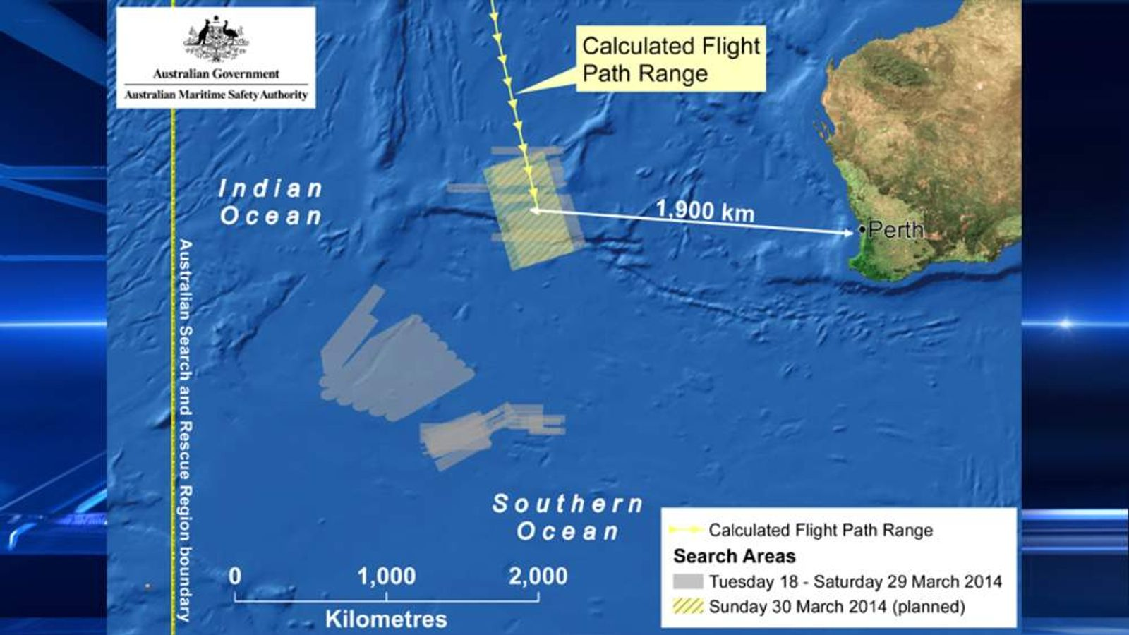 The planned search area for missing Malaysia Airlines flight MH370 on March 30