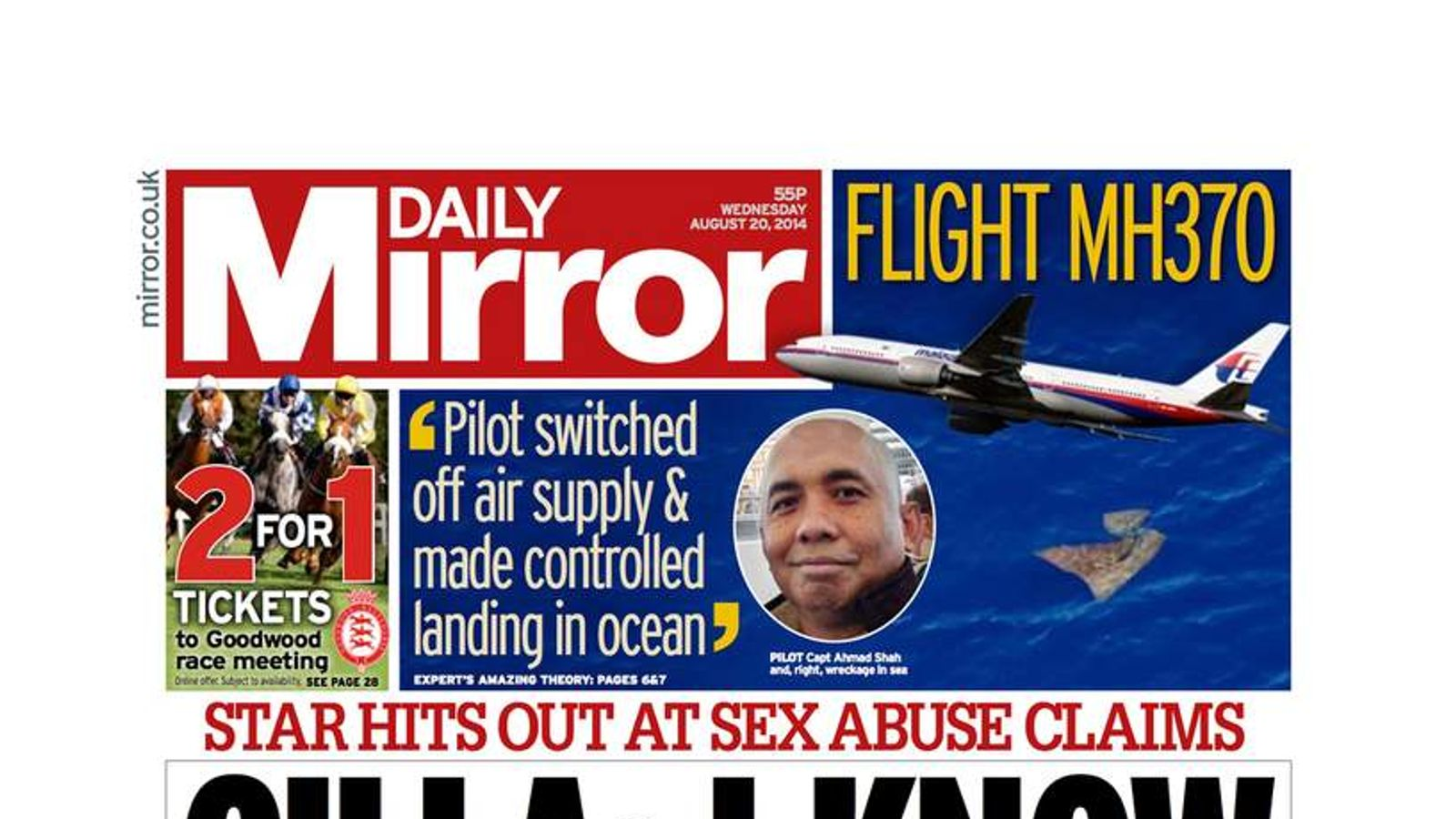 The front page of Wednesday's Daily Mirror