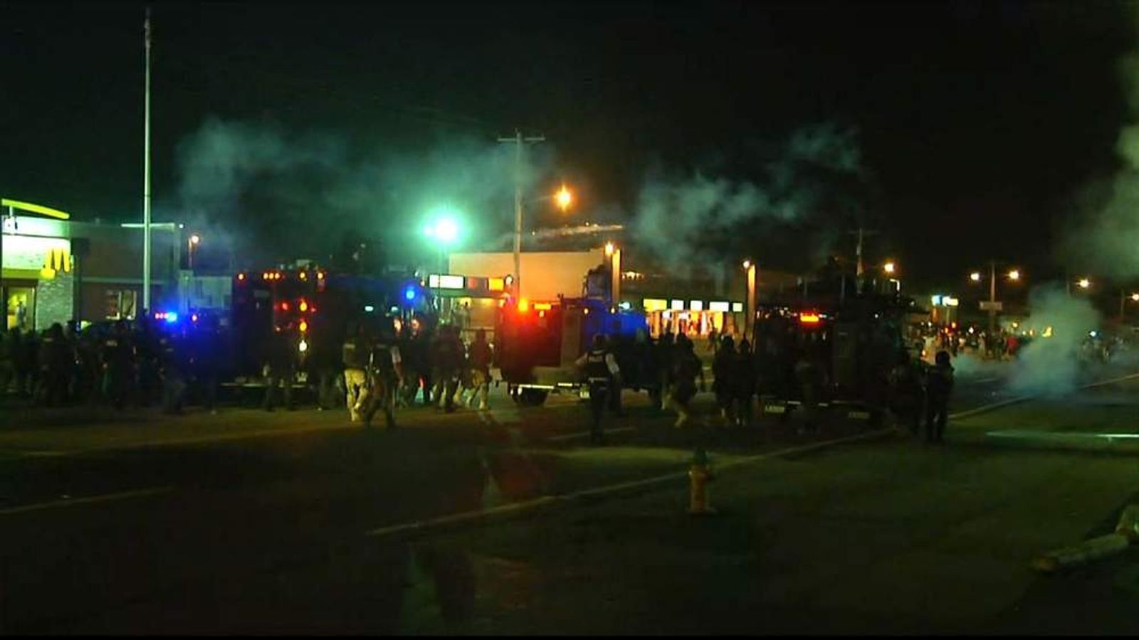 Missouri protests: police use smoke bombs