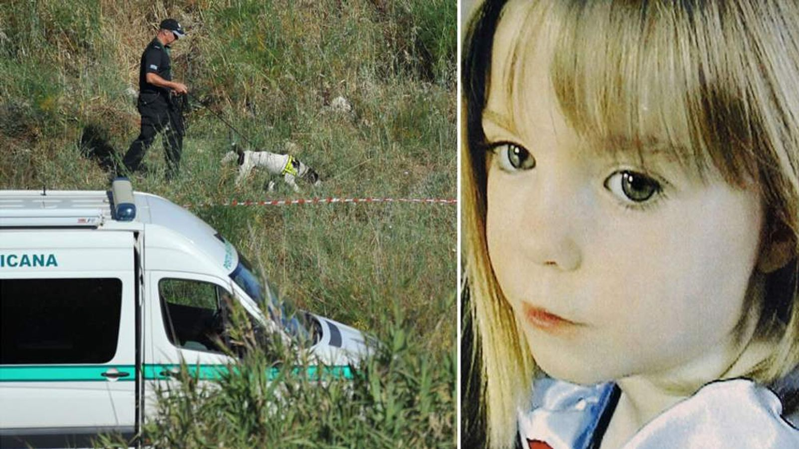 British detectives investigating the disappearance of Madeleine McCann (R) search a new area outside of Praia da Luz