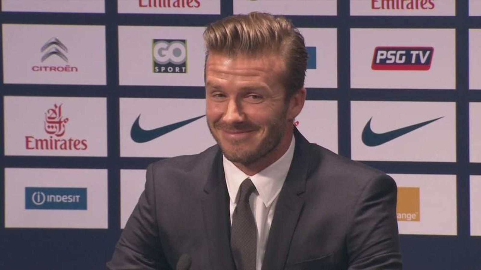 David Beckham at PSG news conference