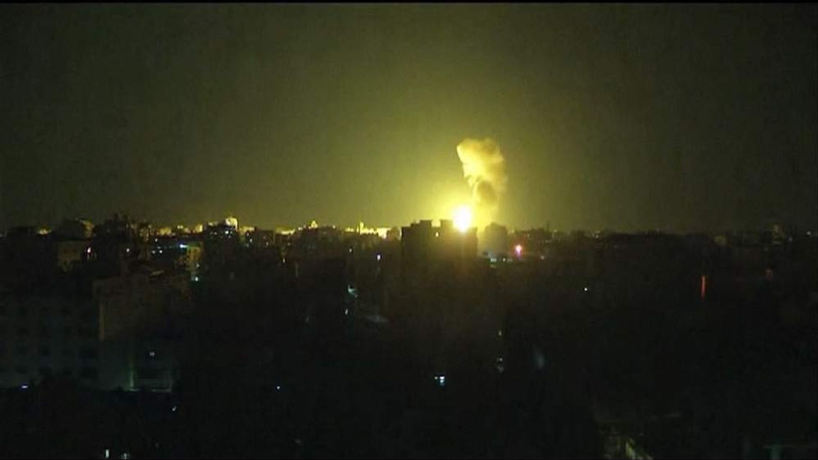 An Israeli airstrike on Gaza City