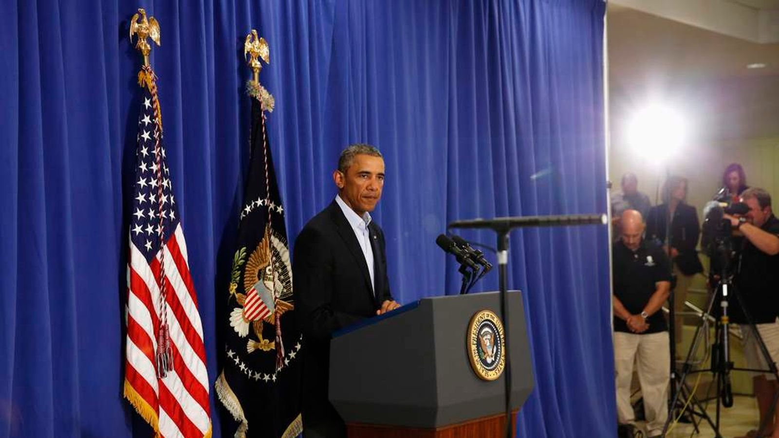 Barack Obama delivers a statement from Martha's Vineyard, Massachusetts