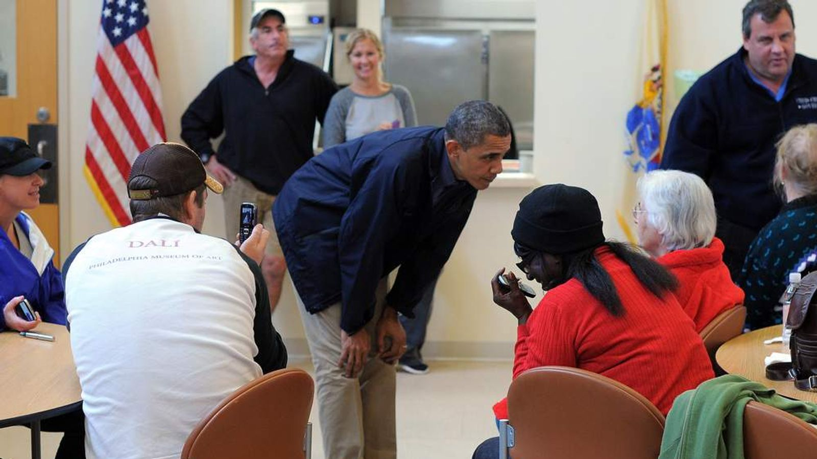 US President Barack Obama talks to Sandy victims at a shelter in Brigantine, New Jersey.