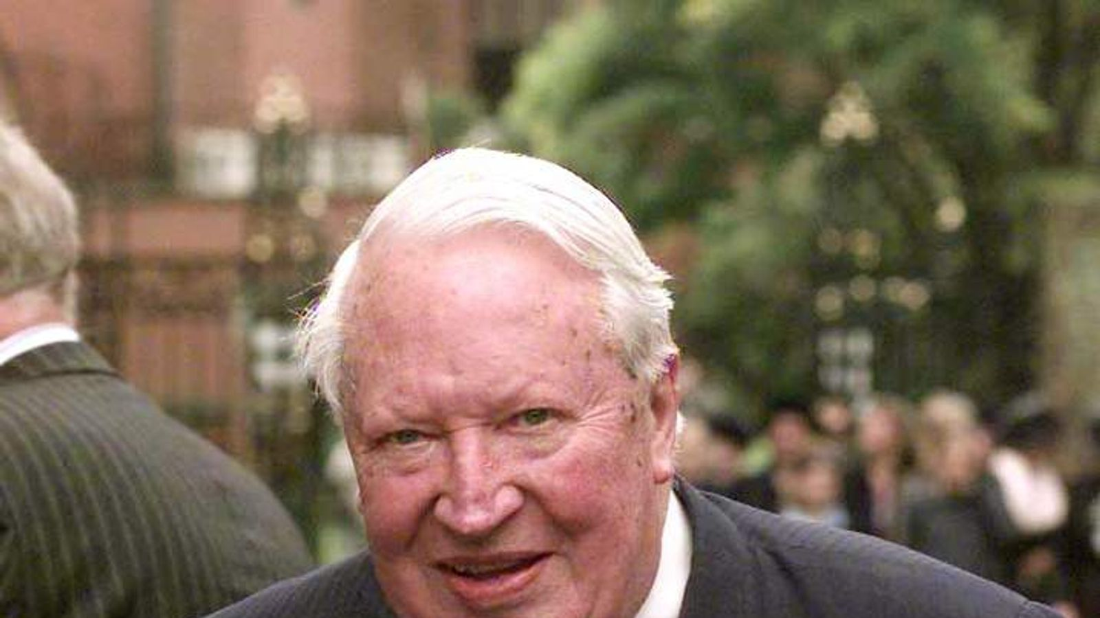 Sir Edward Heath arrives for the start of the Viscount Whitelaw Memorial service at Carlisle Cathedral in 1999.