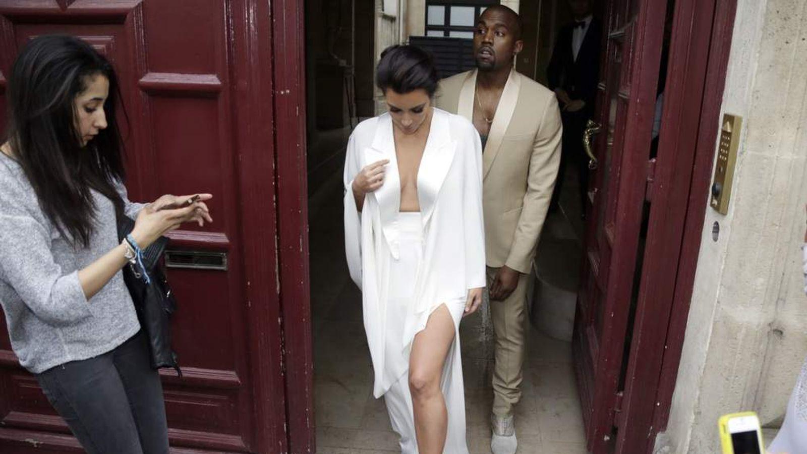 Kinm Kardashian and Kanye West in Paris ahead of their wedding
