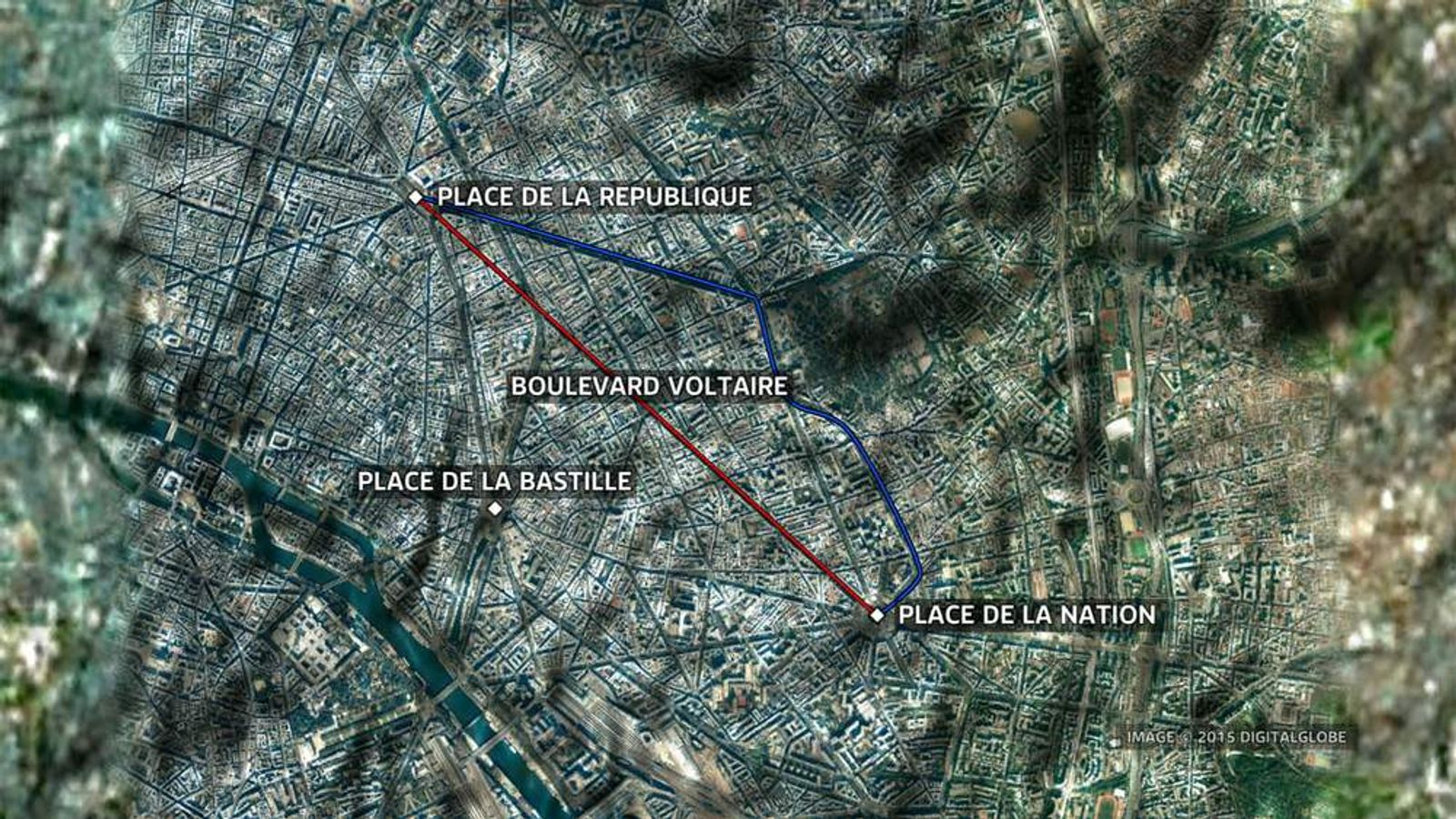 The route of the march in Paris on Sunday.