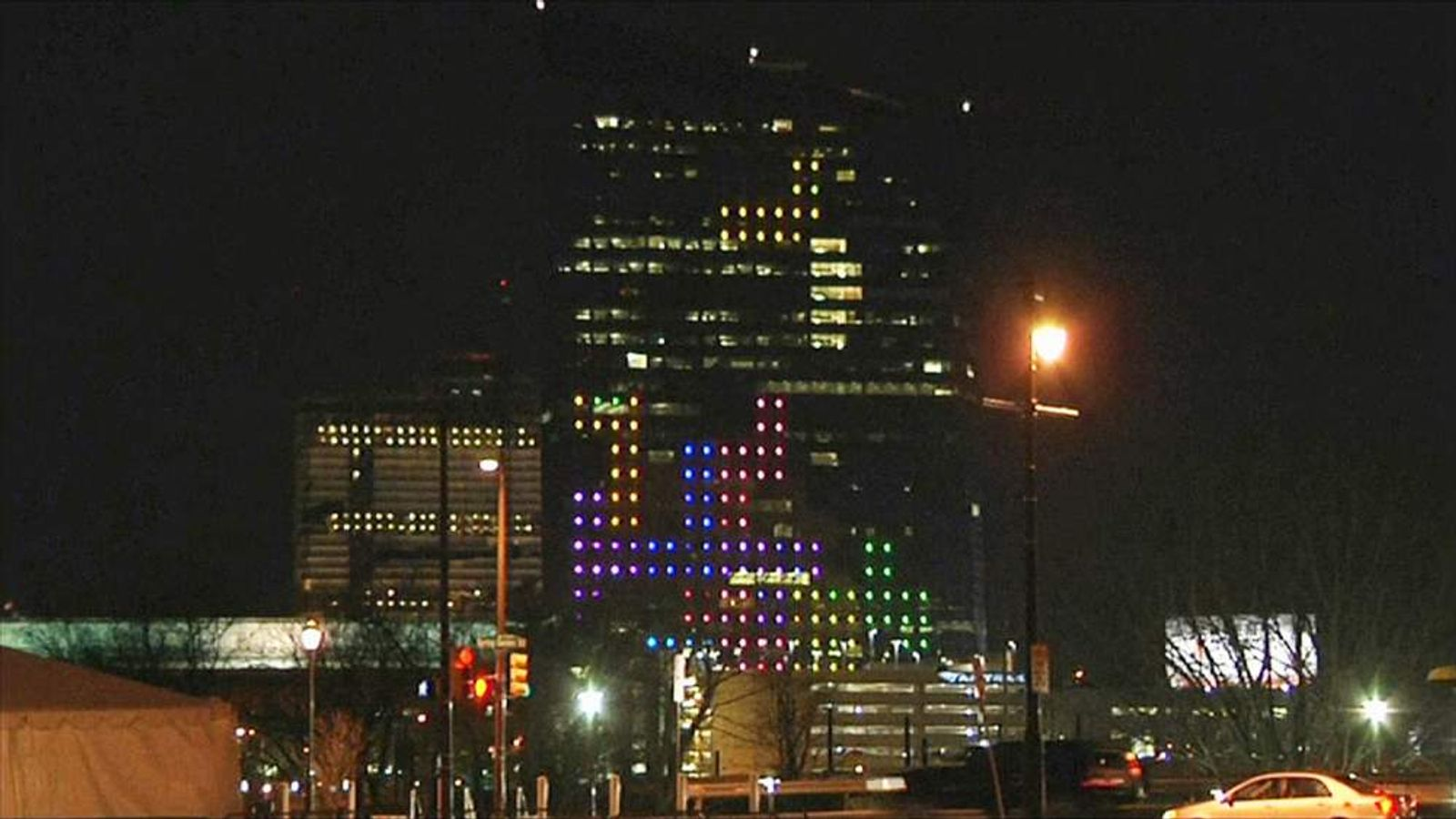 Tetris played on front of Philadelphia building
