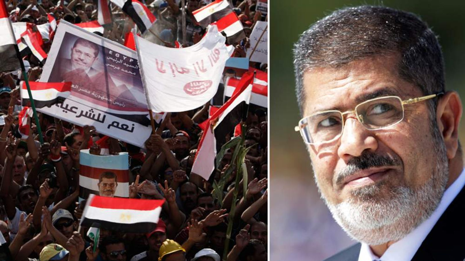 Mohamed Morsi and protesters in Cairo