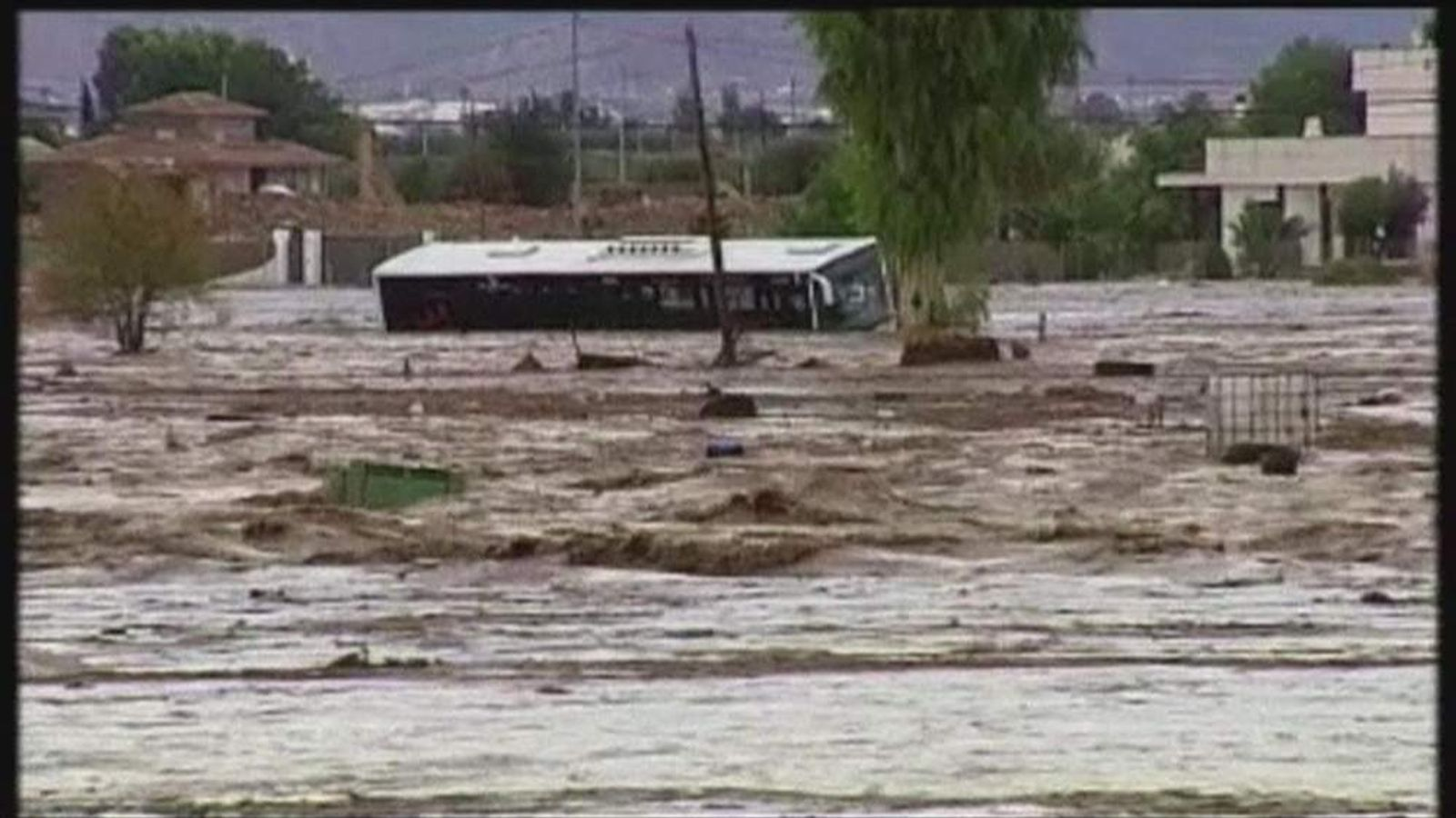 Floodwaters rage through southern Spain.