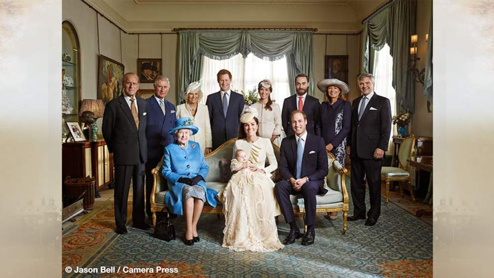 The Royal Family and the Middletons following the christening of Prince George