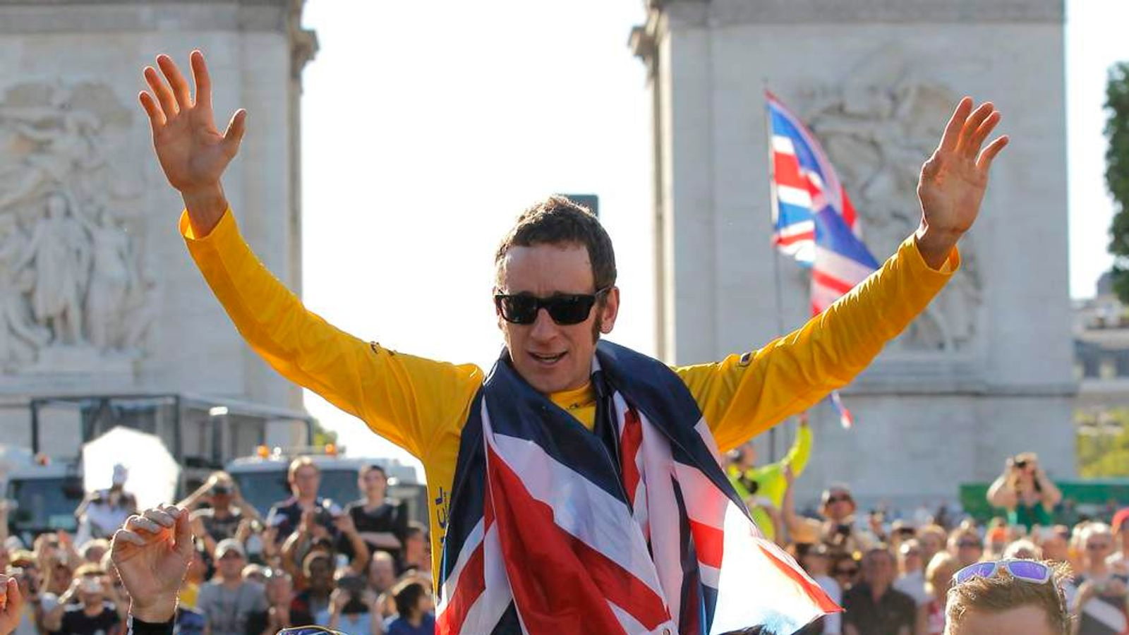Bradley Wiggins celebrates winning Tour de France