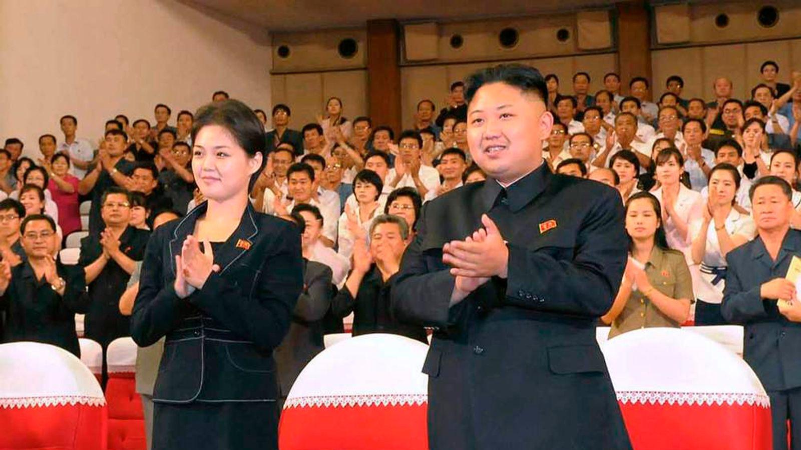 File photo of North Korean leader Kim Jong-Un and his wife Ri Sol-Ju in Pyongyang