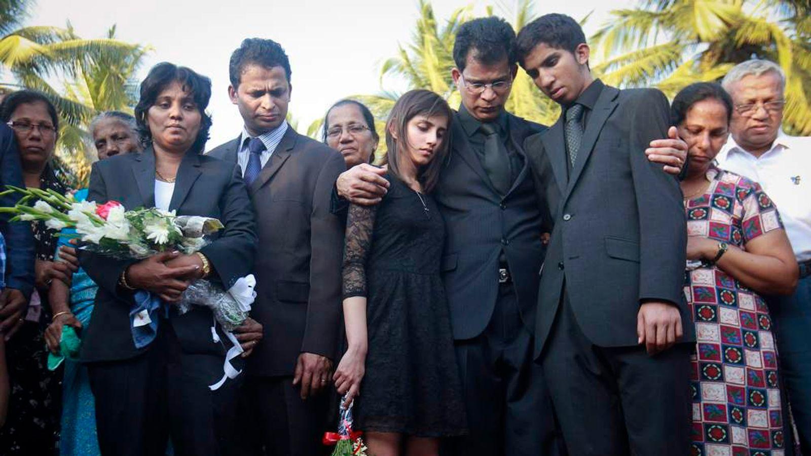 Jacintha Saldanha's widower Barboza and her children Lisha and Junal