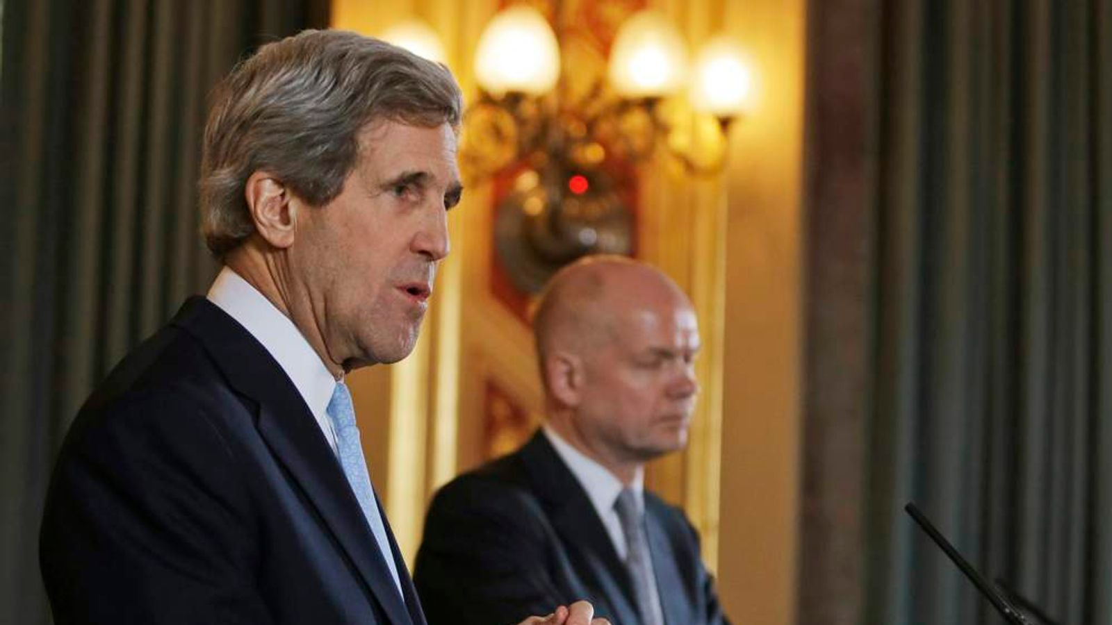 U.S. Secretary of State John Kerry and Britain's Foreign Secretary William Hague hold a joint news conference at the Foreign and Commonwealth Office in central London