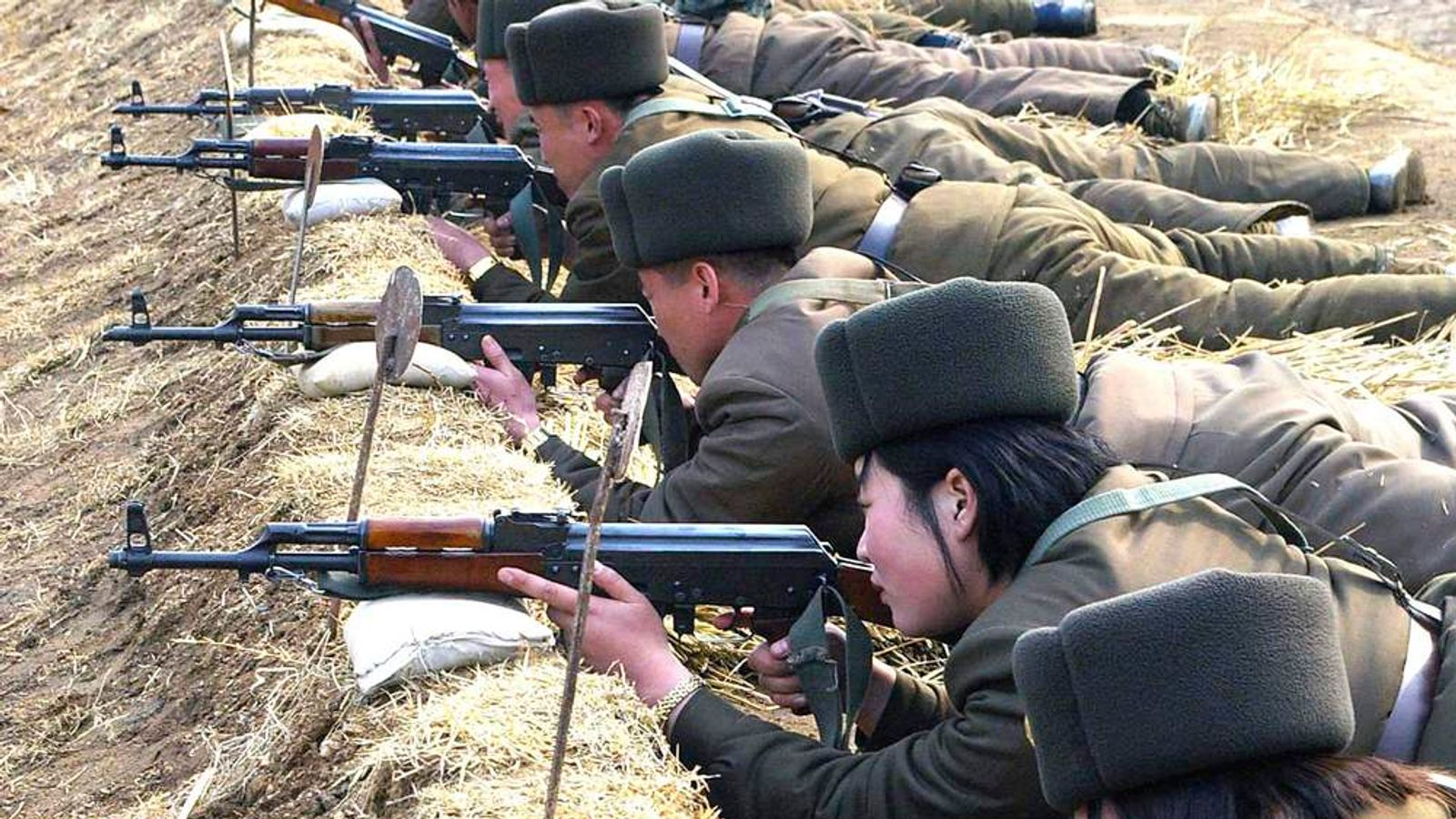 KCNA handout picture shows North Korean soldiers attending military training