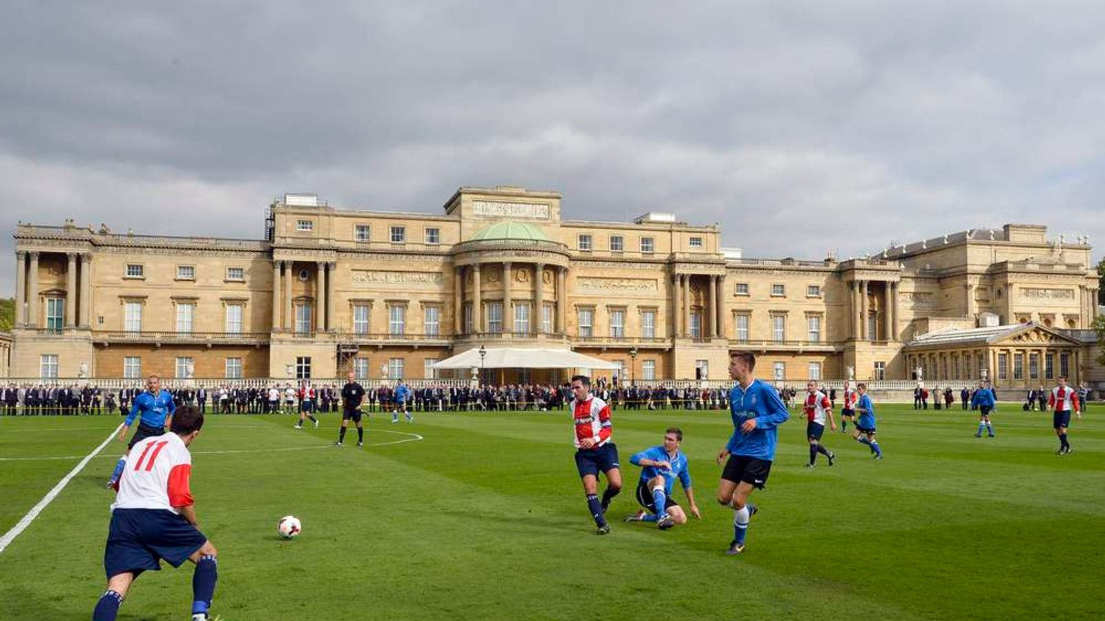 Polytechnic FC play Civil Service FC in a Southern Amateur League football match in the grounds of Buckingham Palace, in central London