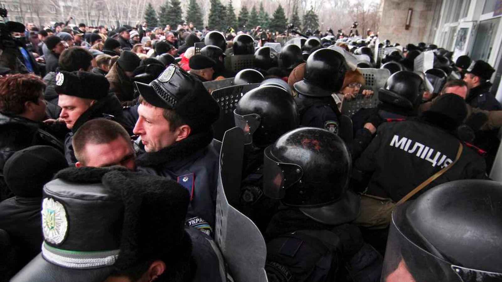 Pro-Russian demonstrators storm the regional government building in Donetsk