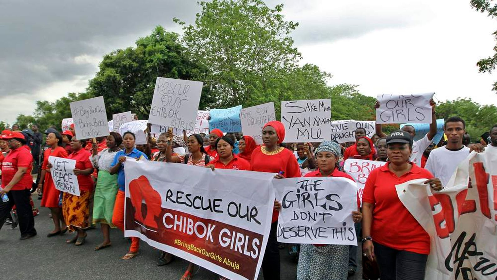 Members of various CSOs protest against the delay in securing the release of the abducted schoolgirls who were kidnapped, in Abuja