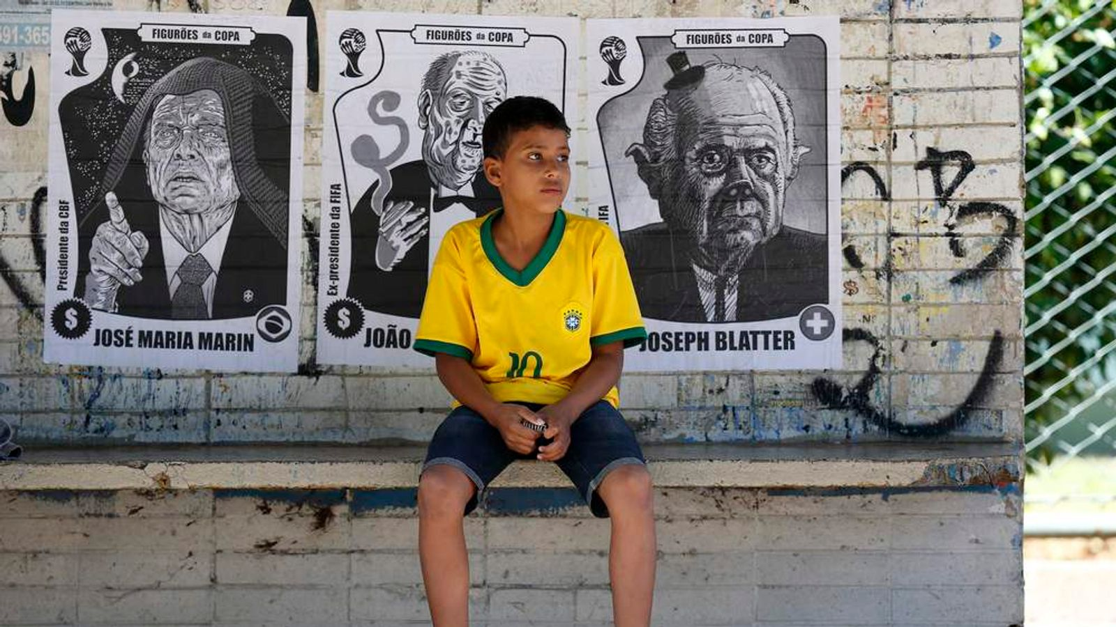 Sepp Blatter Poster In Brasilia With Brazil Fan