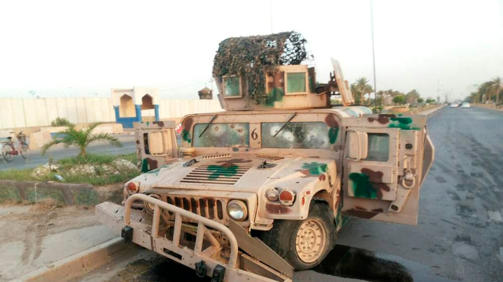 Abandoned Iraq Army Vehicle On Road In Tikrit