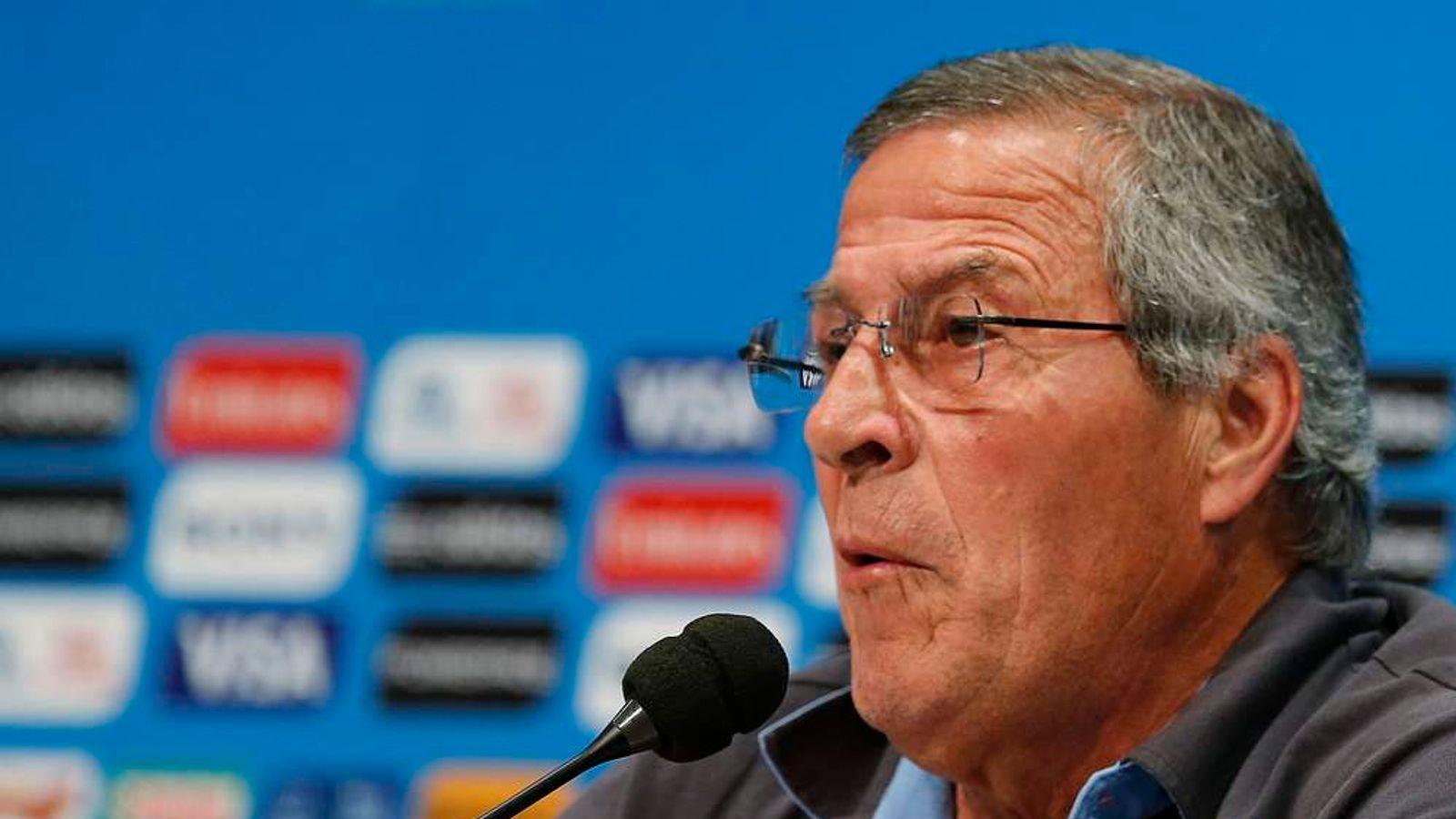 Uruguay's head coach Oscar Tabarez speaks during a news conference in Rio de Janeiro
