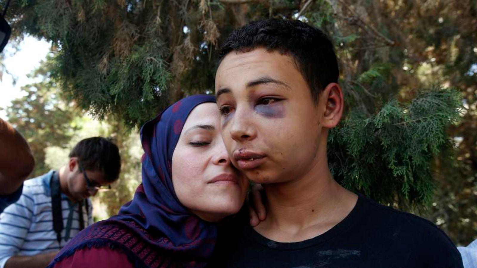 Tariq Abu Khadair and his mother Suha Abu Khadair outside court
