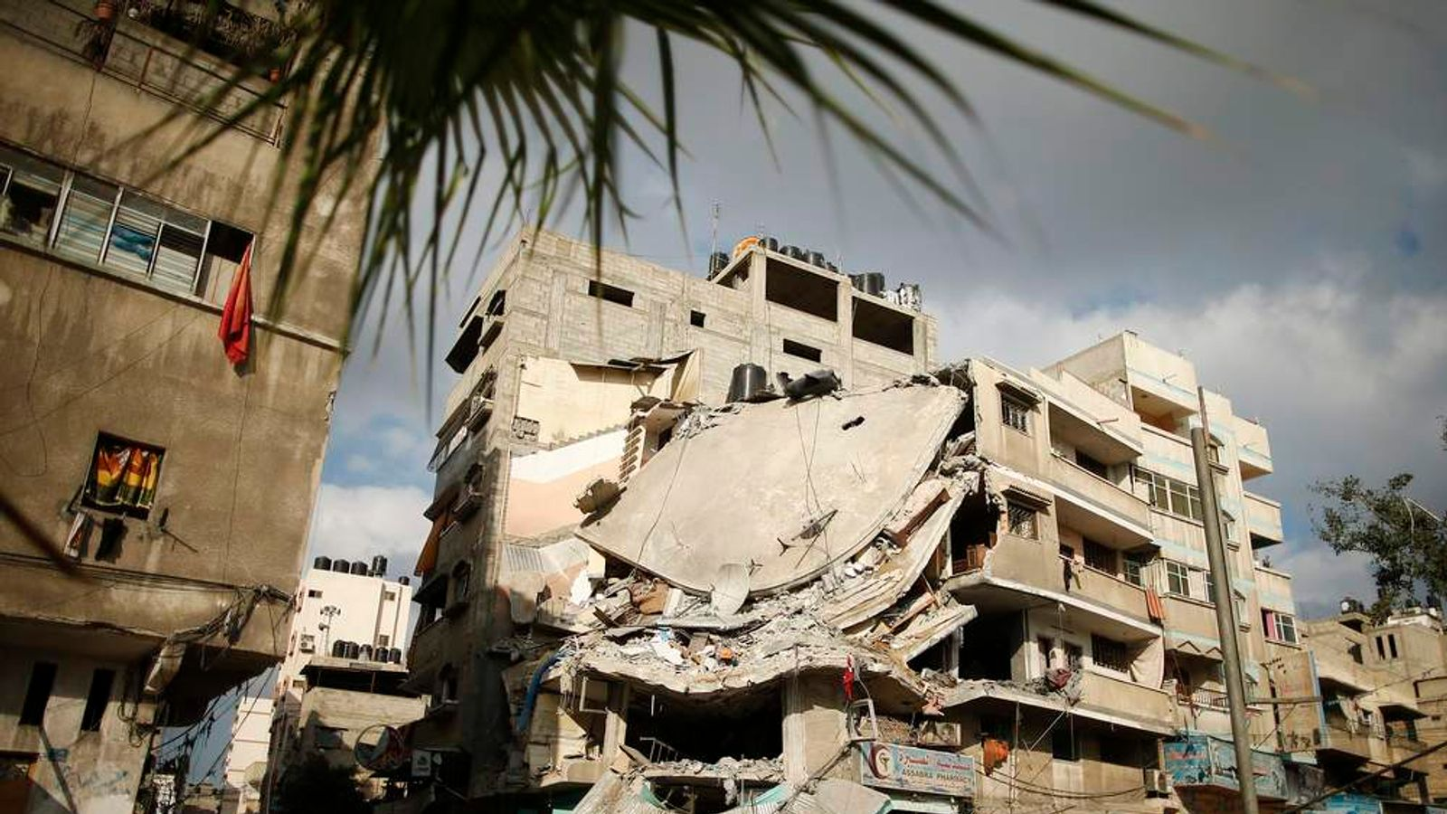 A destroyed house, which police said was targeted in an Israeli air strike, is seen in Gaza City