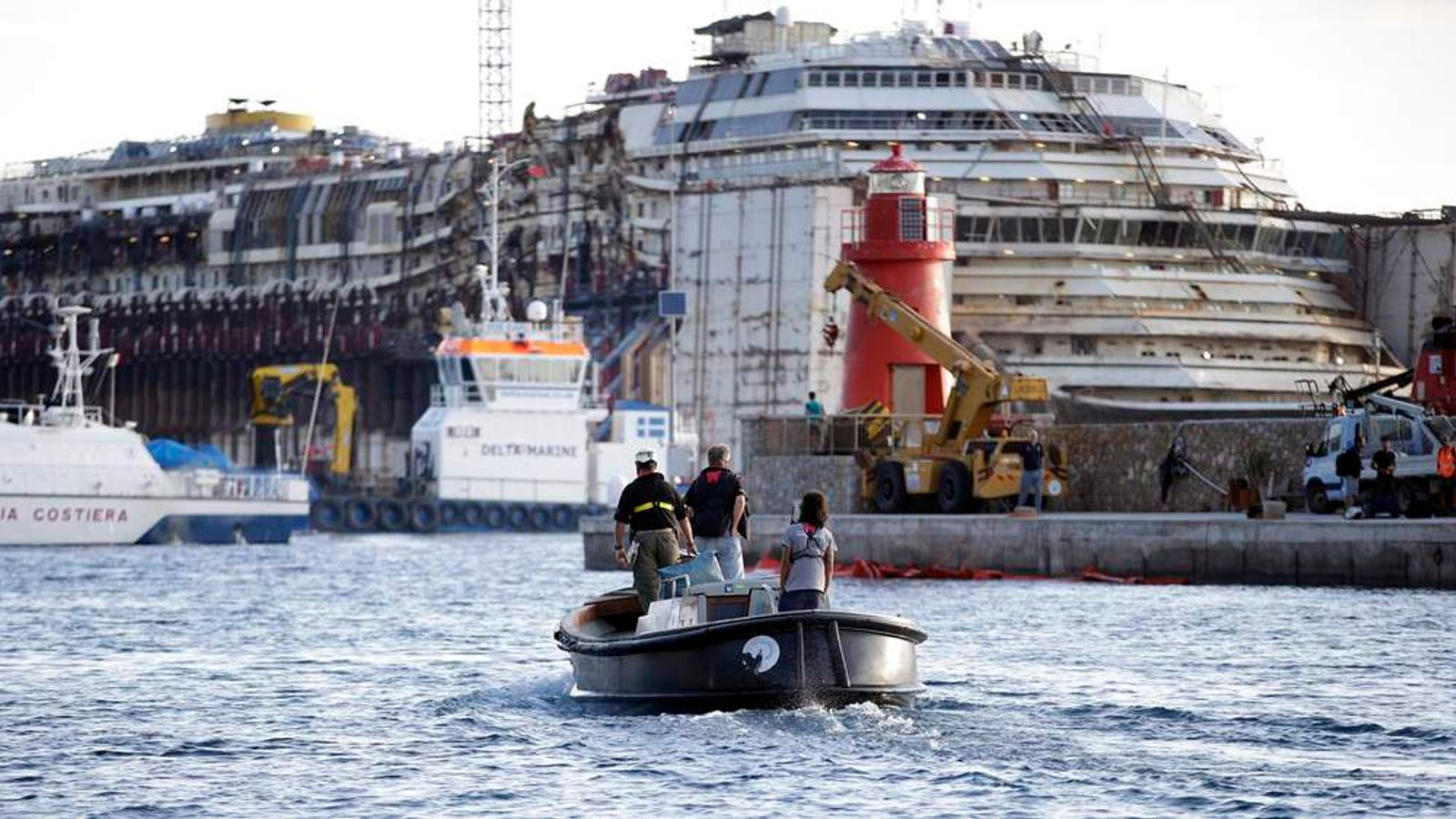 Costa Concordia pictured during the refloat operation