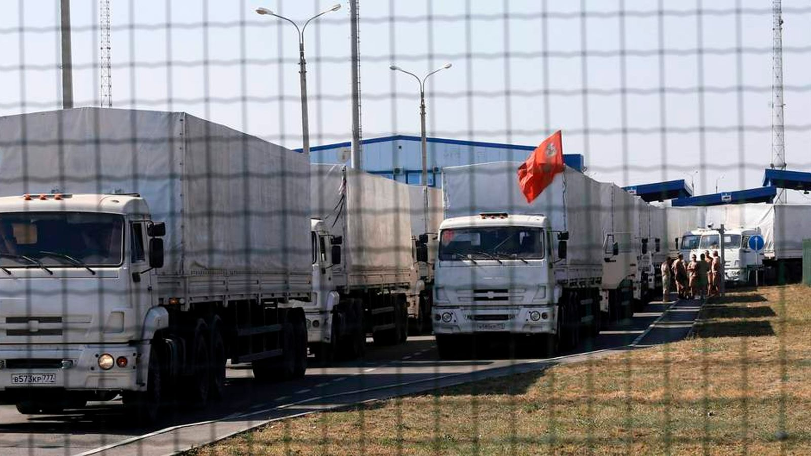 "Trucks from a convoy that delivered humanitarian aid for Ukraine are seen inside border crossing point ""Donetsk"" in Russia's Rostov Region"