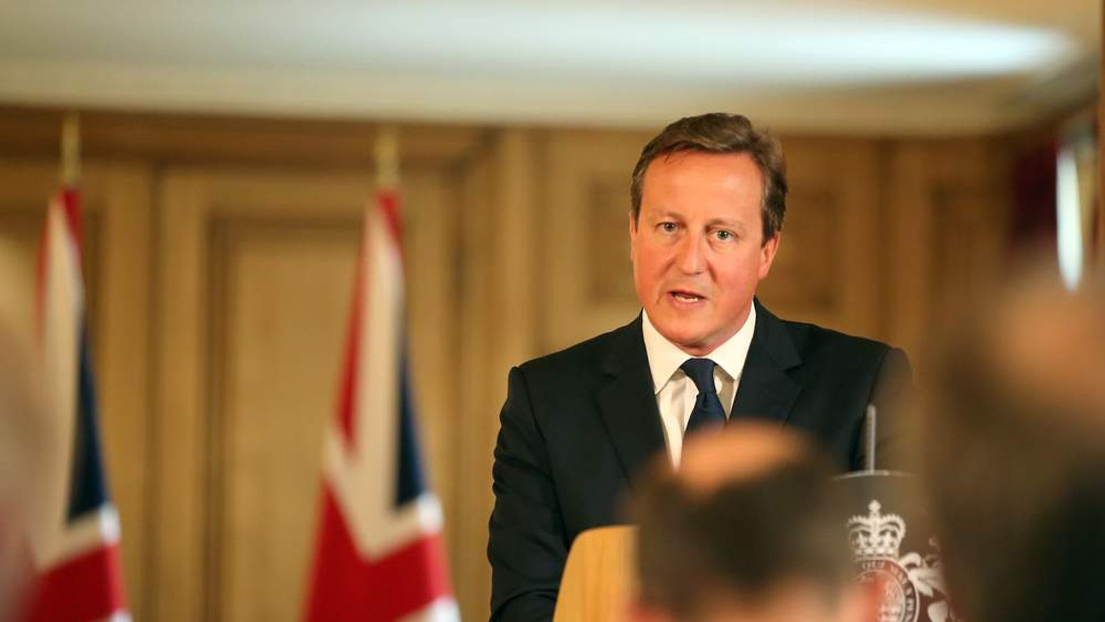 Britain's Prime Minister David Cameron speaks at a news conference in Downing Street, central London