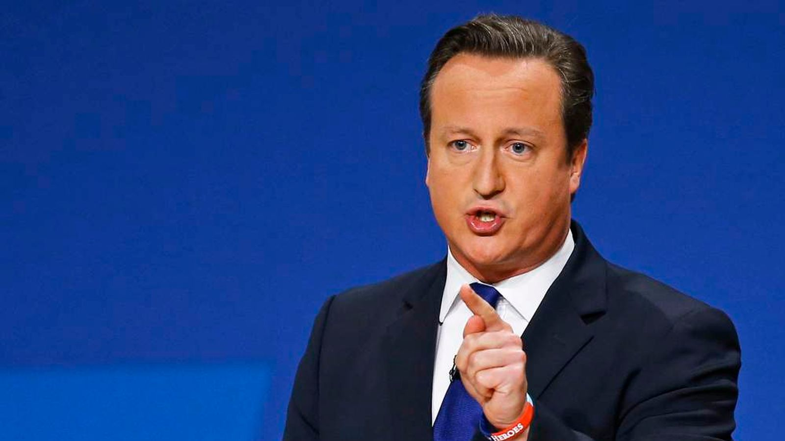 Britain's Prime Minister David Cameron delivers his keynote address to the Conservative Party Conference in Birmingham