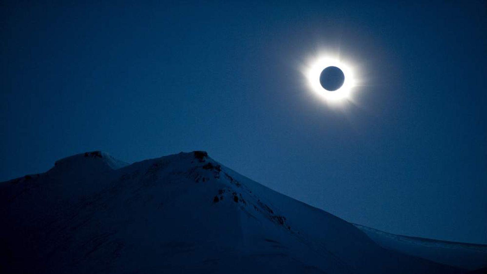 A total solar eclipse is seen in Longyearbyen on Svalbard