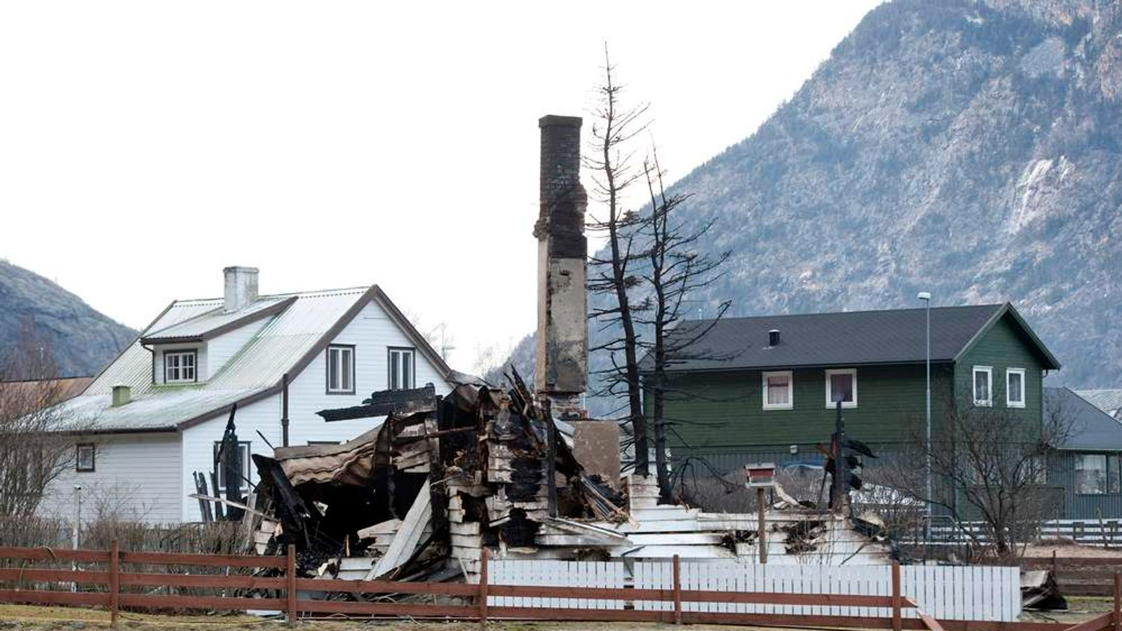 The burnt out remains of a building is pictured after a fire in Laerdal, western Norway