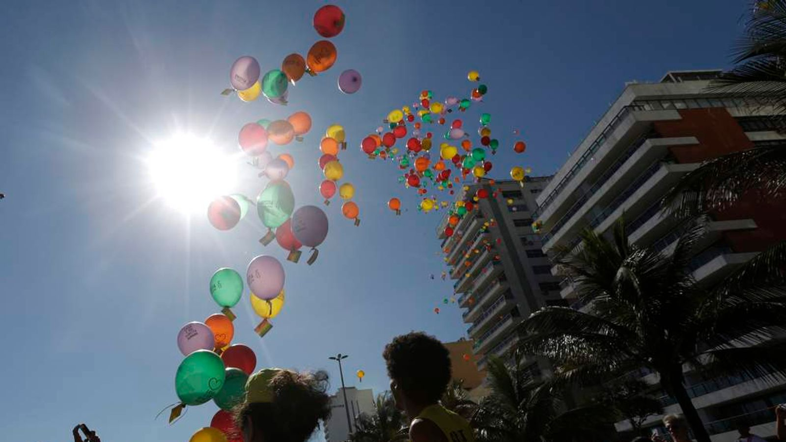 Demonstrators release balloons with messages against Russia's President Vladimir Putin and anti-gay laws, ahead of the Sochi 2014 Olympic Games, in Rio de Janeiro