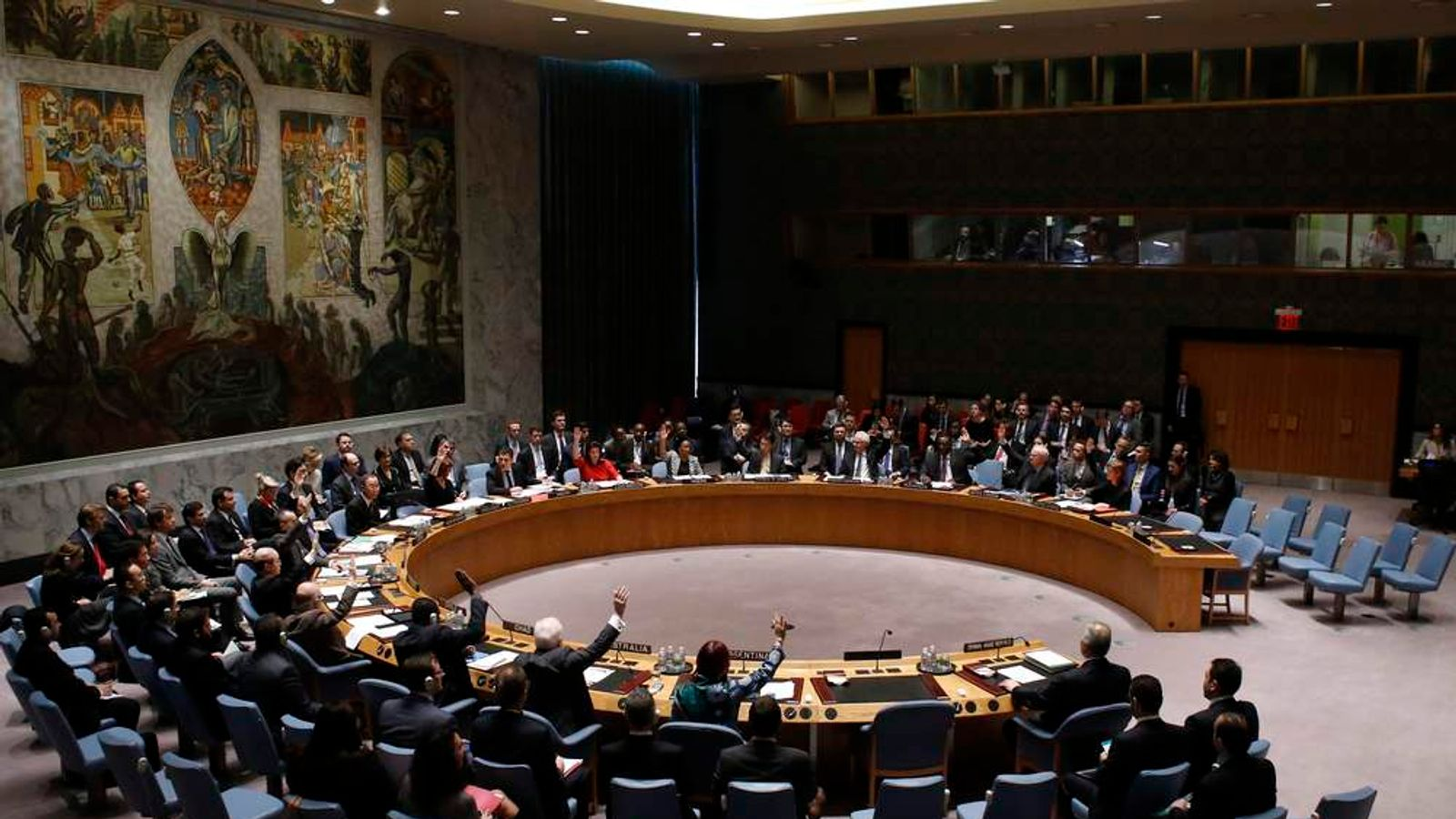United Nations Security Council votes on resolution on humanitarian aid for Syria at U.N. headquarters in New York