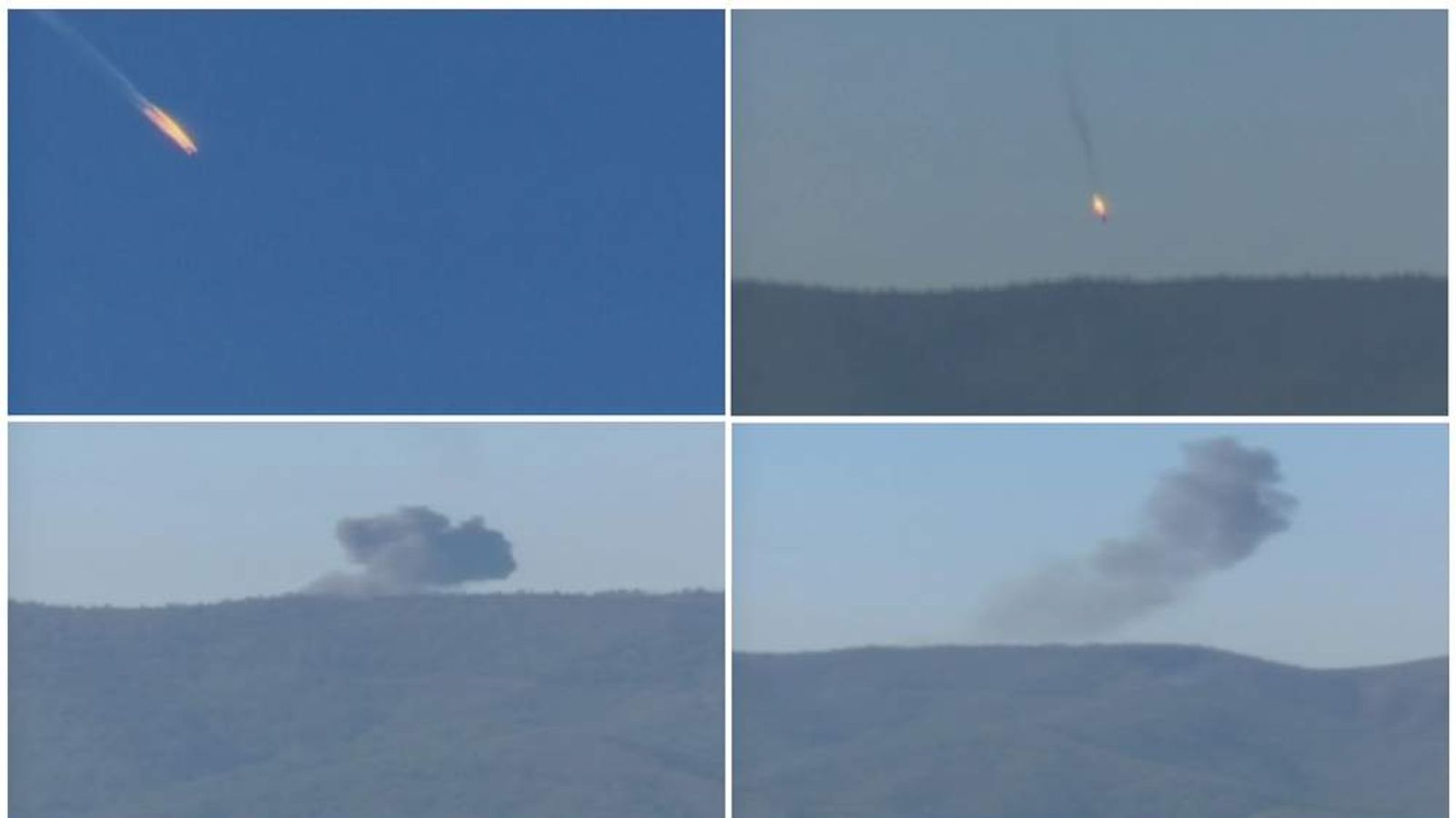 Combination frame grabs shows a war plane crashing in flames in a mountainous area in northern Syria after it was shot down by Turkish fighter jets near the Turkish-Syrian border
