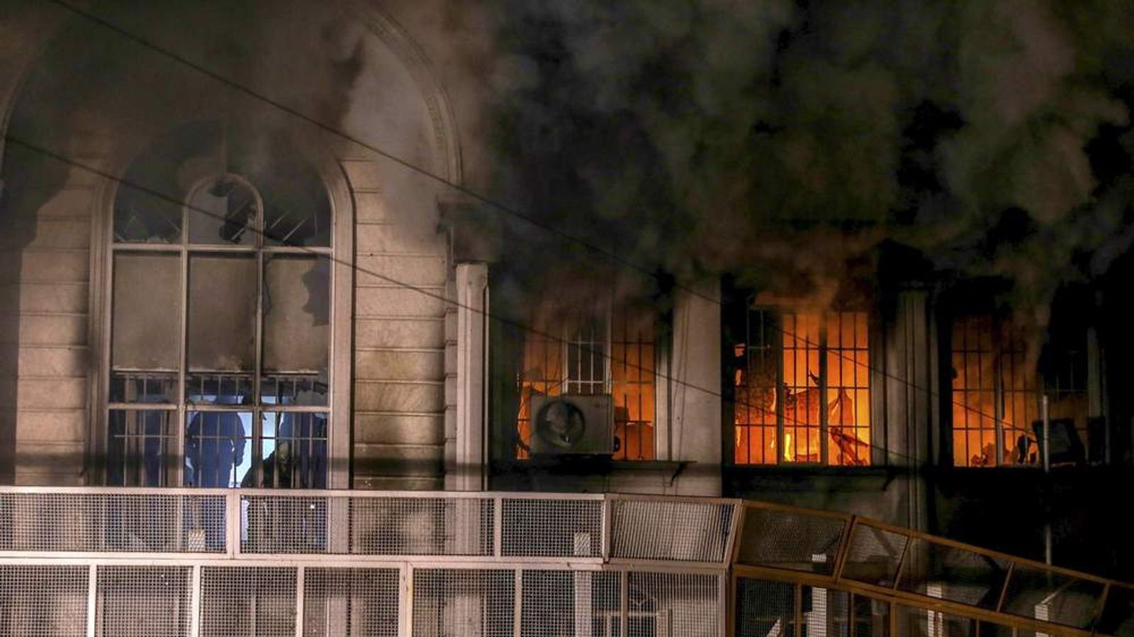 Flames and smoke rise from Saudi Arabia's embassy during a demonstration at in Tehran
