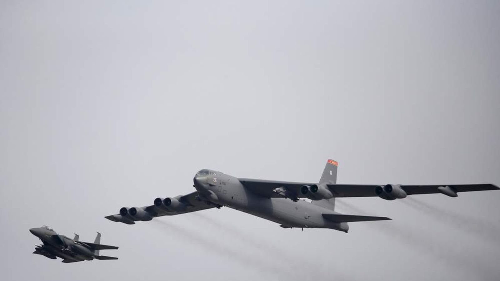 A U.S. Air Force B-52 flies over Osan Air Base in Pyeongtaek