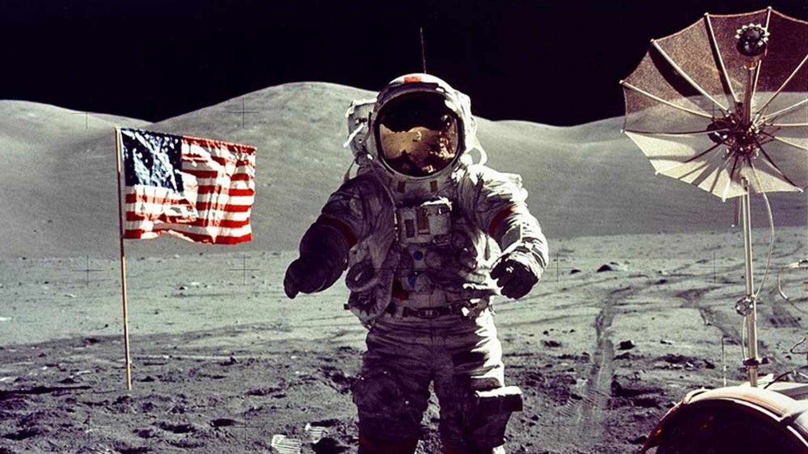 Astronaut Eugene Cernan walks on the moon