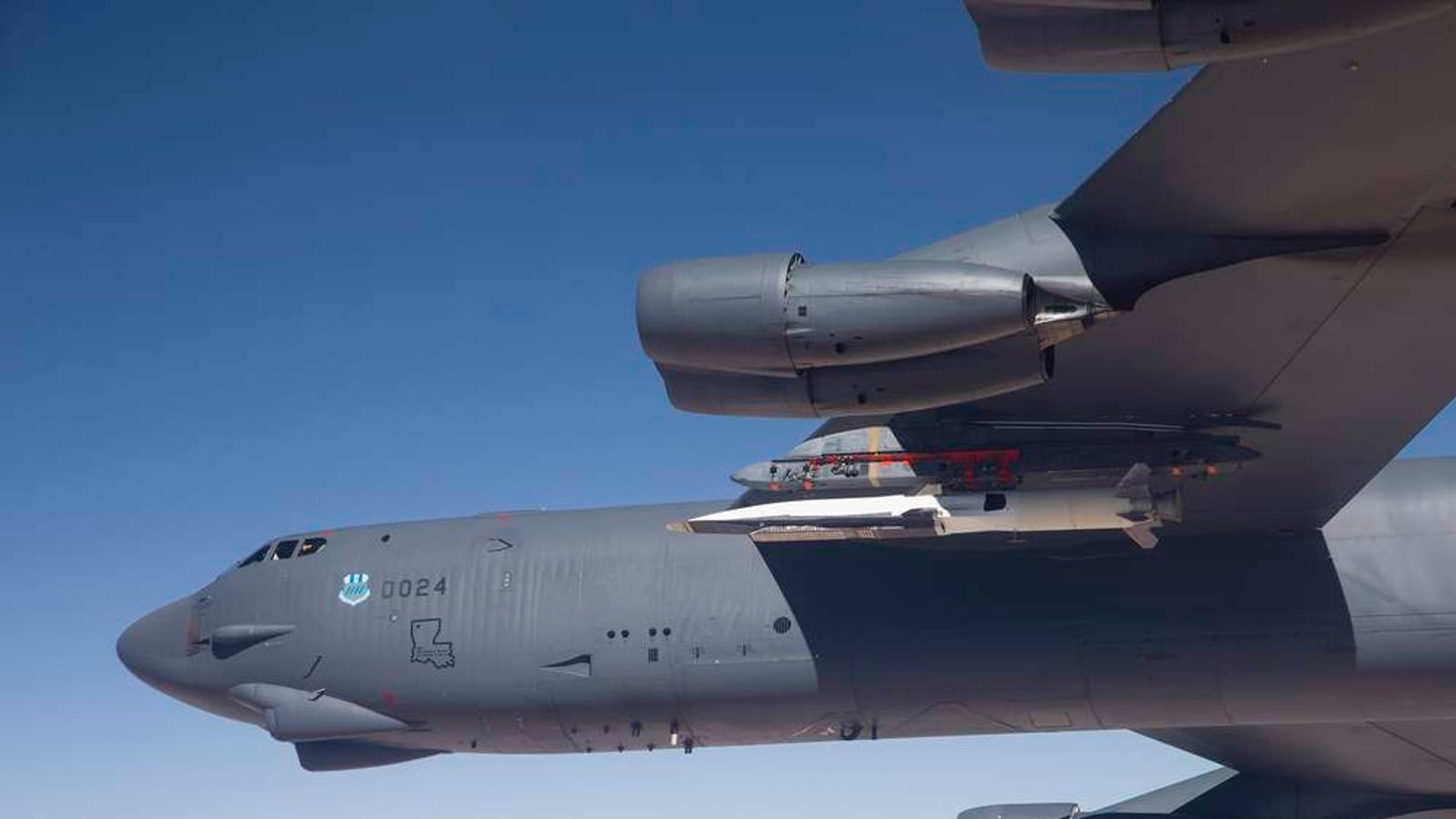 A U.S. Air Force B-52 carries the X-51 Hypersonic Vehicle out to the range for a launch test from Edwards AFB